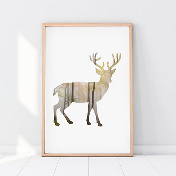 Deer print, forest print, deer wall art, printable art, deer poster, animal print, deer art, deer wall poster, woodland deer print, DIGITAL