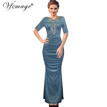 Vfemage Women's Elegant Glitter Applique Embroidery Hollow Out V-Neck Ruched Maxi Long Dress