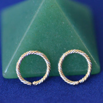 small gold & silver cartilage hoop earrings