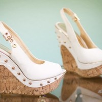 Rosette Beverly-02 Gold Studded Peep Toe Slingback Platform Wedge (White) - Shoes 4 U Las Vegas