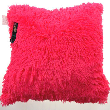 Neon Pink Shag Pillow Plush Throw 20x20 Polyester Living Room Sofa Bed Decor