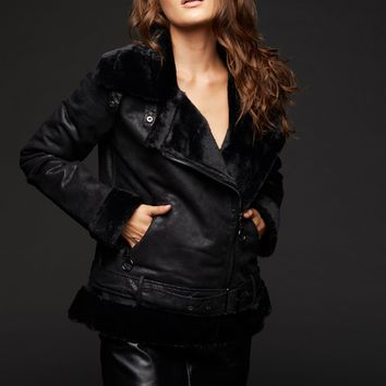 Rock The Night Black Faux Leather Shearling Coat