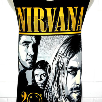 NIRVANA Kurt Cobain Nevermind Rock Band Music Metal T Shirt Tank Top Singlet Vest Size M