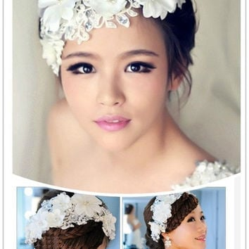 Hot Sell New Fashion Romantic Wedding Dress Headband Lace Flower Jewelry Bride Headwear Banquet Pearl Hair Accessories Gift = 1930188484