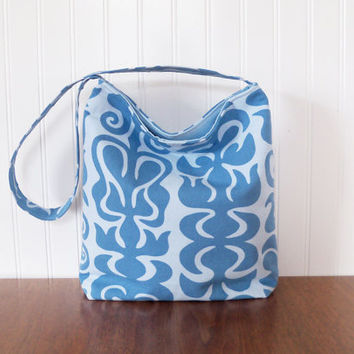 SALE - was 41 now 35 - Slouch Purse - IKEA fabric - Blue Slouch Bag - Fabric Purse - Medium