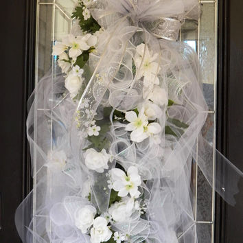 Huge!! White Wedding Swag- Bridal Shower Wreath- Wedding Decoration- Bridal Shower Decoration