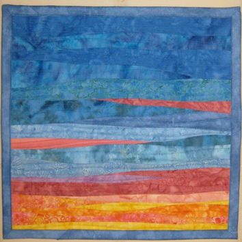 Landscape Art Quilt Sunrise 3, Wall Hanging, Quilted Wall Hanging, Fiber Arts