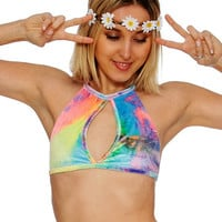 Black Light Reactive Tie Dye Neon Pastel Keyhole Velvet Rave Top