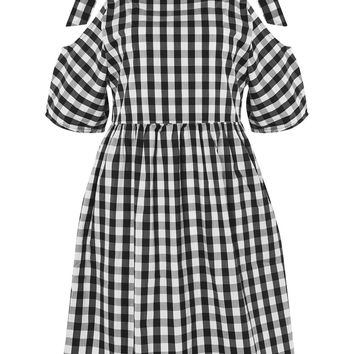 **Gingham Check Cold Shoulder Dress by Glamorous Petites | Topshop