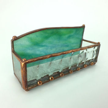 Textured Clear and Teal Green Handmade Stained Glass Business Card Holder One -of-a-Kind Glass Box, Business Card Display
