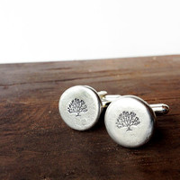 mens accessories cufflinks - handmade cuff links - tree of life, mens christmas gift
