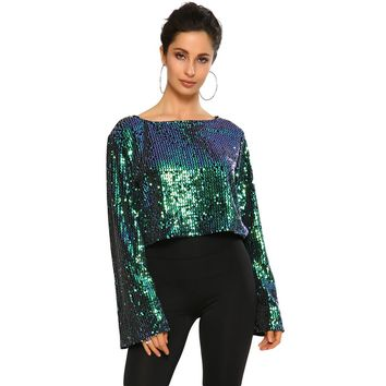 New Sexy Women Sequin Short shirt Flare Sleeve Crop Top O Neck Glittering Bling Long Sleeve Casual Party Top T shirt Black/Green