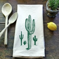 Cactus - Flour Sack Tea Towel - 100% Natural Cotton - Hand Screen Printed