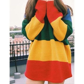 PEAPON Rainbow striped knit sweater