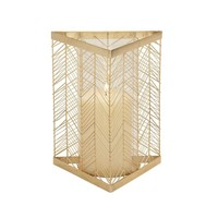 Benzara Chic Metal Glass Gold Candle Holder