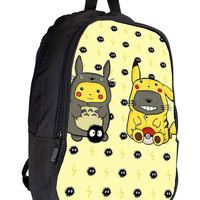 Totoro and Pikachu 1377a078-8703-4674-8289-6a2fcc5e0d4f for Backpack / Custom Bag / School Bag / Children Bag / Custom School Bag *02*