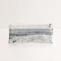 Landscape Pouch - Mediterranean, Monochrome Nautical Make Up Bag and Vegan Pencil Case, Back to School