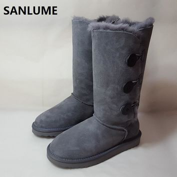 SANLUME Gray color Winter boots women knee high flat shoes woman fur snow boots genuine leather warm large Size 41