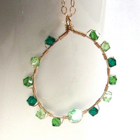 Large Chrysolite Emerald Peridot Gold Filled Chain Pendant, Gold Green Swarovski Pendant, Necklace, Wire Wrapped Jewelry Handmade