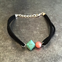 Dainty Turquoise Suede Bracelet