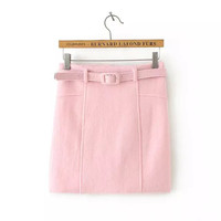 Plain Belted Woolen Mini Skirt