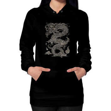 Vintage Ancient Chinese Dragon (On Dark) Hoodie (on woman)