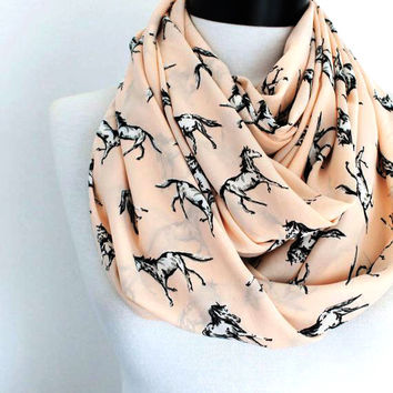 pink horse scarf,infinity scarf, scarf, scarves, long scarf, loop scarf, gift
