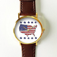 USA Map Watch, Vintage Style Leather Watch, Women Watches, Boyfriend Watch,Men's Watch, Silver Gold Rose, Stars Stripes