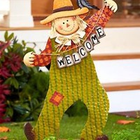 Scarecrow Welcome Yard Stake Decoration Fall Thanksgiving Lawn Art Home Decor