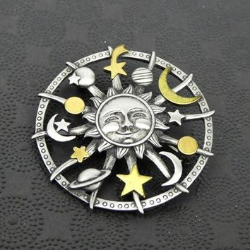 "JJ Celestial 2"" Brooch, Vintage 1990s Era Pin, Circular with Sun Moon Stars Planet, Pewtertone Metal with Golden Highlights, Wicca Witching"