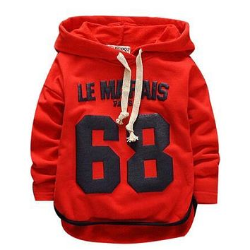 Good quality 2017 Spring Baby Girls / Boys T-Shirt Kids Hooded Baby / Newborn Casual Tees Cotton children long-sleeved