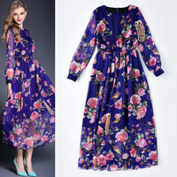 Dark Blue Floral Sheer Mesh Long Sleeves Swing Maxi Dress