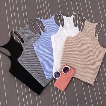 Korean Brand Summer Womens Short Cropped Knitted Tank Tops New 2016 Spring Fashion Ladies' Casual Knit Crop Tanks
