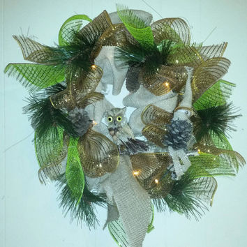 Owl and Elf Wreath, Autumn Wreaths, Christmas Gifts, Holiday Wreaths, Thanksgiving Wreaths