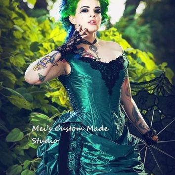 1800 Green Black Gothic Steampunk Victorian Bustle Reproduction 3pce Set/Party Dress/Wedding&Bridal Dress/Event Dress