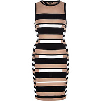 River Island Womens Black stripe open back bodycon dress