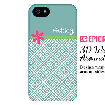 Customized iPhone 6 case, greek key iPhone 6 plus case, monogrammed gifts, iPhone 5c case, 3d wrap around case, galaxy S5 case