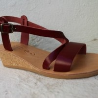 Leather pumps! Luxury leather sandals, pumps! Cork wedges sandals-sandales femmes , cuir