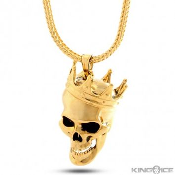King Ice 14K Gold Solid Skull King Necklace
