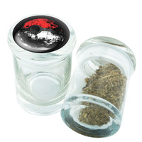 Stash Jar - Glass Pop Top - PokeBall Death Star - Stay Fresh Herbs 1/6 oz.