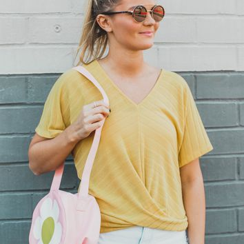 Cece Crossover Front Top, Mustard