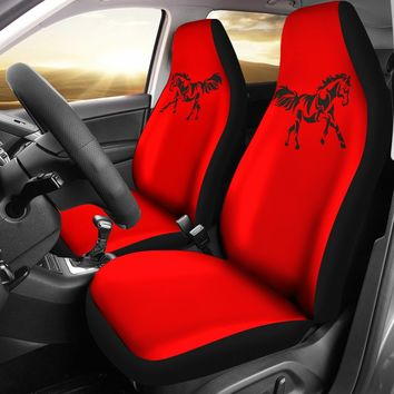 Black Horse Silhouette 2 Red Seat Covers