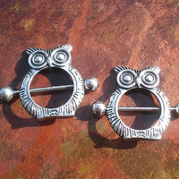 316L Stainless Steel Owl nipple ring 14G