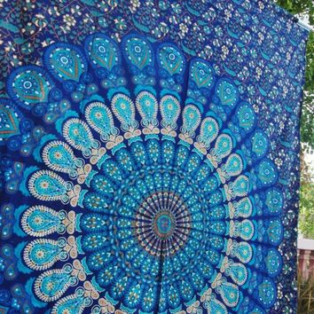 Blue Tapestry Bedding Hippie Decor Yoga Mat Beach boho bohemian Wall Tapestry