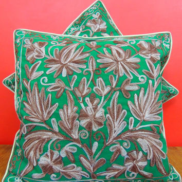Home decor pillow / Velvet green pillow case / Hand embroidered pillow cover/Pillow cover from india / sofa cushion / car cushion