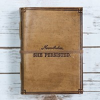 """She Persisted"" Blonde Handmade Leather Journal"