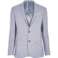 River Island MensLight blue linen slim blazer