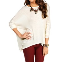 Ivory Boatneck Drop Sleeve Top
