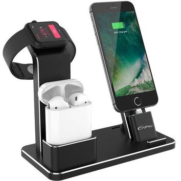ONETOW YoFeW Apple Watch Stand Aluminum 4 in 1 Apple Watch Charger Dock Accessories for AirPods Charging Docks Stand for Apple Watch Series 3/ 2/ 1/ AirPods/ iPhone 8/ 8 Plus/ 7/ 7 Plus /6s iPad Black