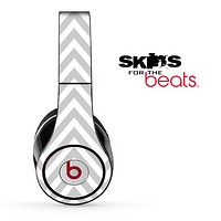 Large Gray and White Chevron Pattern Skin for the Beats by Dre Solo, Studio, Wireless, Pro or Mixr
